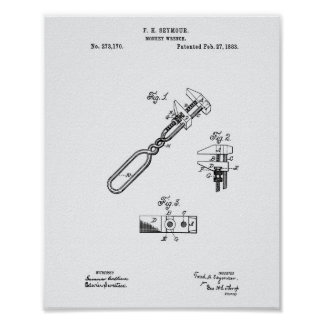Monkey Wrench 1883 Patent Art White Paper Poster