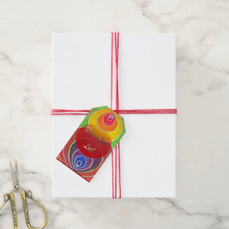 Monkey Year Luck Rainbow Colors Art Gift Tag