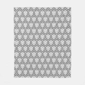 Mono Grey Honeycomb Pattern Fleece Blanket
