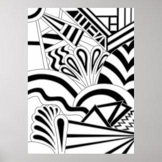 Monochrome Art Deco Design. Poster
