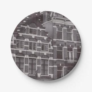 Monochrome Asmterdam Architecture 7 Inch Paper Plate