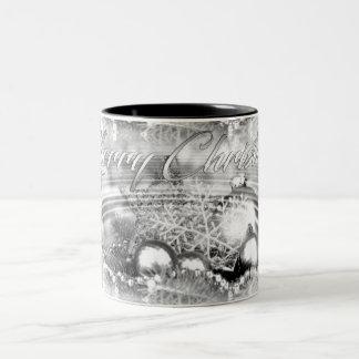 Monochrome Christmas Theme Water Ripples Mug