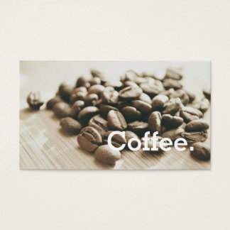 Monochrome Coffee Beans Simple Loyalty Punch-Card Business Card