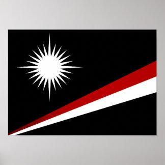 Monochrome Marshall Islands Flag Print