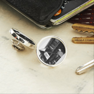 Monochrome photograph lapel pin vol001