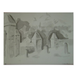 Monochrome Watercolour Architecture picture Poster