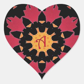 Monogram A Black Red Petals Mandala Heart Sticker
