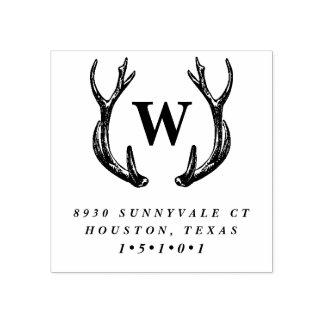Monogram Antler Wreath Return Address Stamp