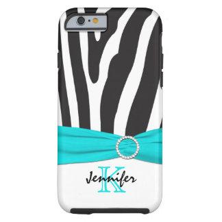 Monogram Aqua, Black, White Zebra Striped iPhone 6 Tough iPhone 6 Case