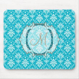 Monogram Aqua Blue and White Damask Mouse Pad