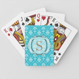 Monogram Aqua Blue and White Damask Poker Deck