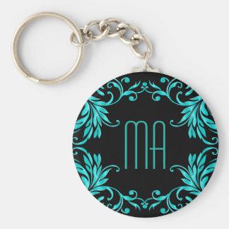 Monogram Aqua Blue Damask Basic Round Button Key Ring