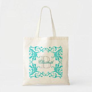 Monogram Aqua Blue Damask Budget Tote Bag