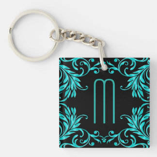 Monogram Aqua Blue Damask Key Ring