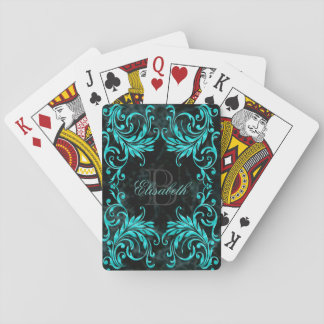 Monogram Aqua Blue Damask Playing Cards