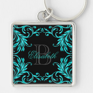Monogram Aqua Blue Damask Silver-Colored Square Key Ring