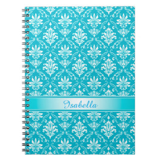 Monogram Aqua Blue Damask Spiral Notebook