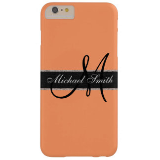 Monogram Atomic tangerine Color Background Barely There iPhone 6 Plus Case