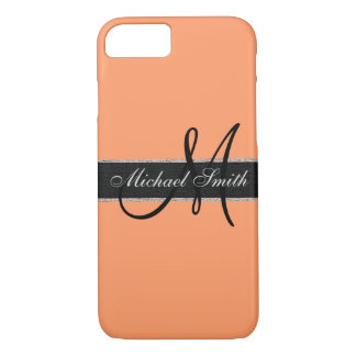 Monogram Atomic tangerine Color Background iPhone 7 Case