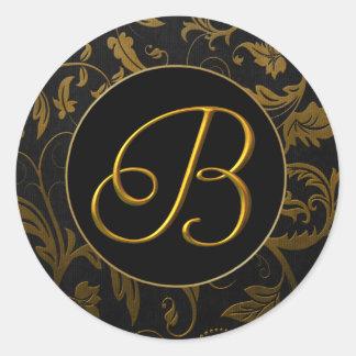Monogram B Gold and Black Damask Wedding Seal Round Sticker