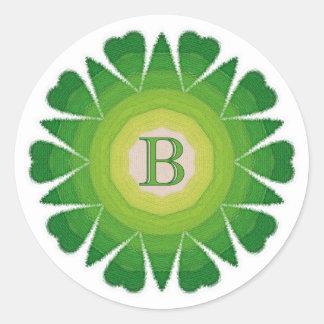 Monogram B Green Spears and Hearts Mandala Sticker