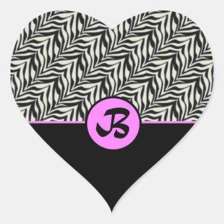 Monogram B Pink Black White Scaled Pattern Sticker