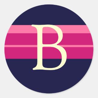 Monogram B Wedding Pink Navy Ivory Stickers