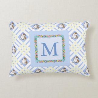 Monogram Baby Blue English Bulldog Decorative Cushion