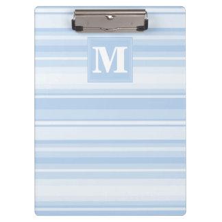 Monogram baby blue stripes clipboard
