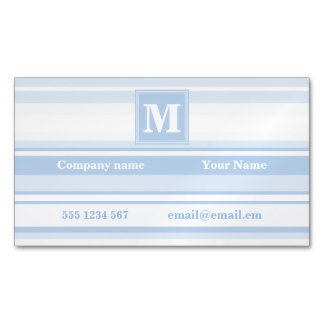 Monogram baby blue stripes magnetic business cards