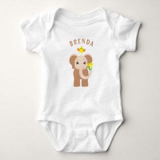 Monogram Baby Girl Elephant & Bird Baby Bodysuit