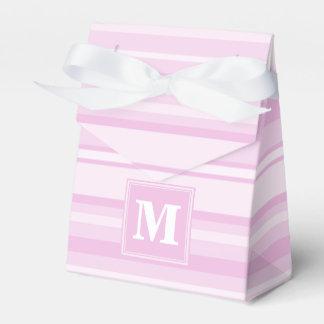 Monogram baby pink stripes favour box