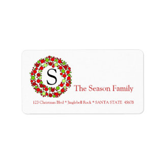 Monogram Bauble wreath holiday label