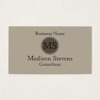 Monogram Beige Brown Business Card Template