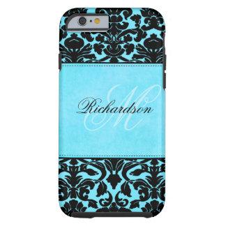 Monogram Black and Blue Damask iPhone 6 case Vibe