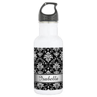 Monogram Black and White Damask 532 Ml Water Bottle