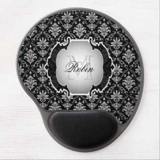 Monogram Black and White Damask Gel Mouse Pad