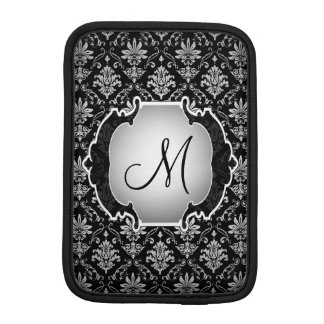 Monogram Black and White Damask iPad Mini Sleeve