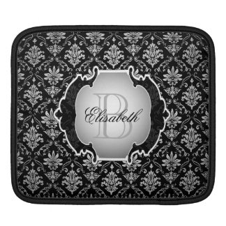 Monogram Black and White Damask iPad Sleeve