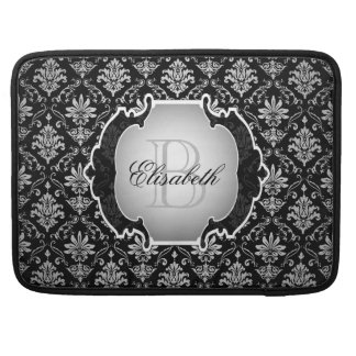 Monogram Black and White Damask Sleeve For MacBooks