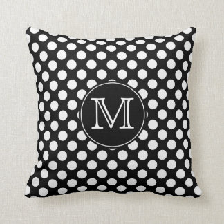 Monogram Black and White Polka Dot Throw Pillow