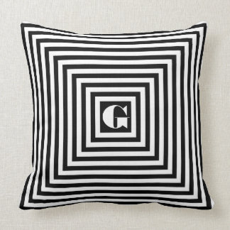 Monogram Black and White Squares Cushion