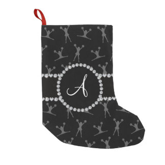 Monogram black cheerleading black circle small christmas stocking