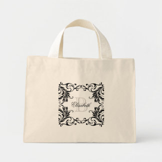 Monogram Black Damask Mini Tote Bag