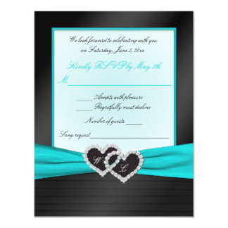 Monogram Black FAUX Satin Pleats with Aqua RSVP Card