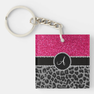Monogram black leopard pink glitter square acrylic key chains