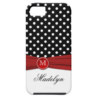 Monogram Black Red White Polka Dot iPhone 5 Case