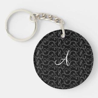Monogram black swirls key chains