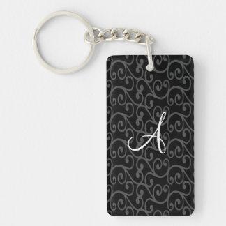 Monogram black swirls rectangular acrylic keychain