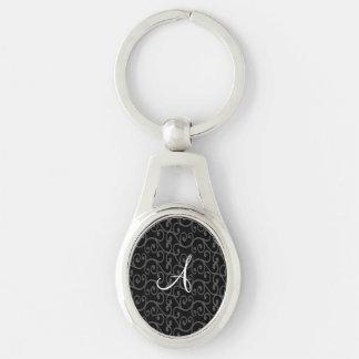 Monogram black swirls keychains